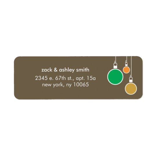 Modern Christmas Return Address Label - Brown