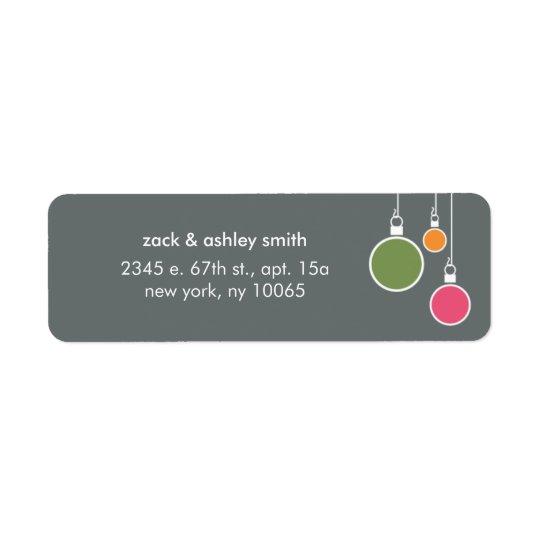 Modern Christmas Return Address Label - Grey