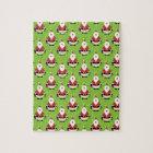 Modern Christmas Santa Pattern Jigsaw Puzzle