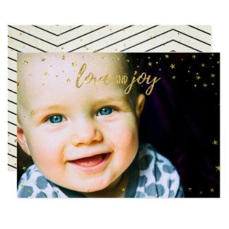 Modern Christmas Stripes Photocard Card