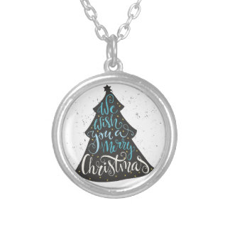 Modern Christmas Tree - Hand Lettering Print Silver Plated Necklace
