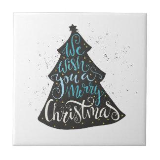Modern Christmas Tree - Hand Lettering Print Tile