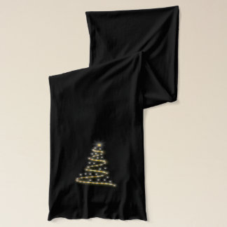Modern Christmas Tree in Gold Scarf