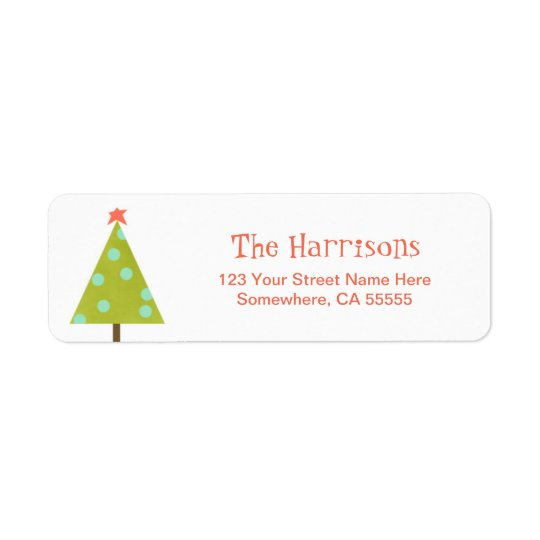Modern Christmas Tree Return Address Label