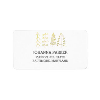 Modern Christmas Trees Gold Holiday Label