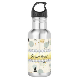 Modern Christmas Trees Snow Stars Diamonds 532 Ml Water Bottle