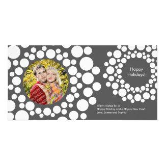 Modern Christmas Wreath Photo Card-Dark Gray Card