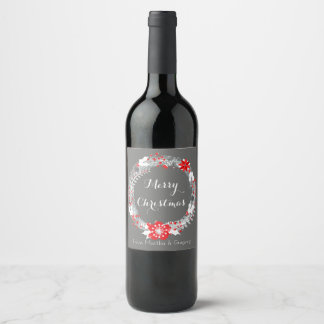 Modern Christmas Wreath Wine Label