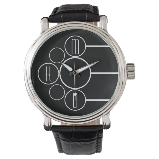 Modern Chronometer Monogrammed Black Wristwatches