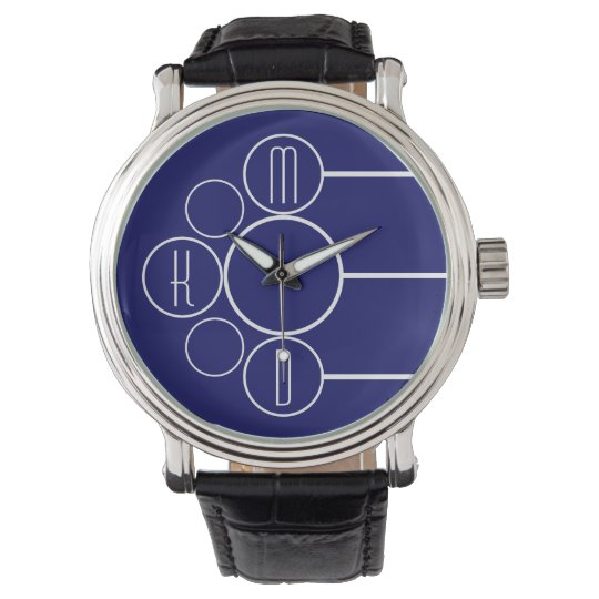Modern Chronometer Monogrammed Blue Wristwatches