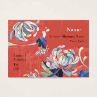 Modern Chrysanthemum Scarlet Red Business Cards