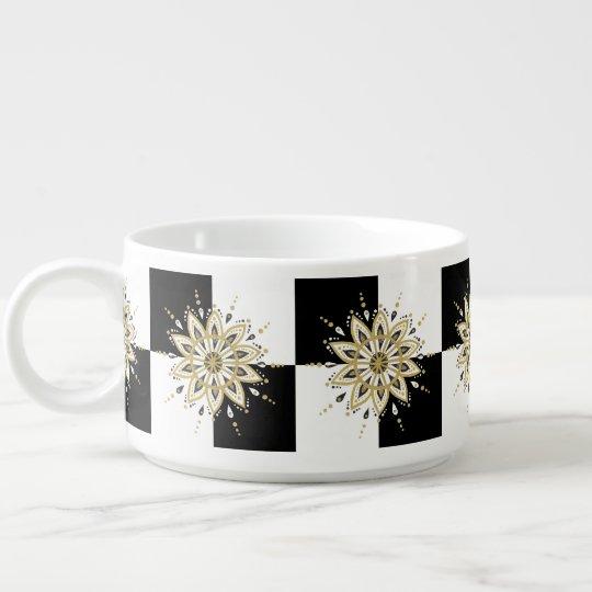 Modern Circle Black White & Gold Mandala Bowl