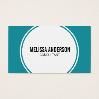 Modern Circle Minimalistic Teal Business Cards
