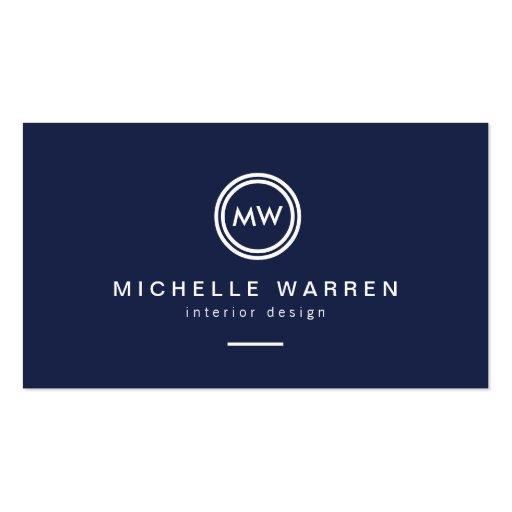 Modern Circle Monogram Initials on Midnight Blue Business Cards