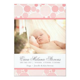 """Modern Circles Birth Announcement Photo card 5"""" X 7"""" Invitation Card"""