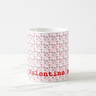 modern circles red classic white coffee mug