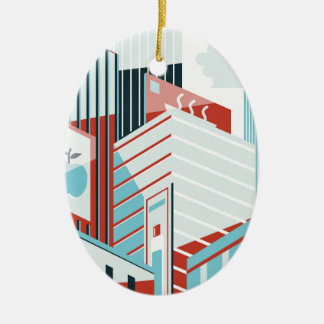 Modern City Ceramic Oval Ornament