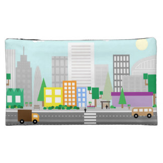 Modern City landscape with skyscrapers and cars Makeup Bag