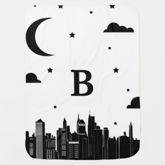 Modern City Scape & Night Sky Baby's Initial Swaddle Blankets