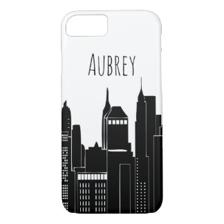Modern City Skyline & Name Case-Mate iPhone Case