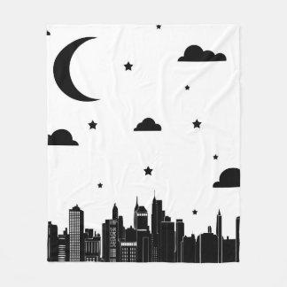 Modern Cityscape & Starry Night Sky Fleece Blanket