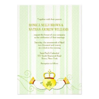 Modern Claddagh Heart Formal Irish Wedding Invites