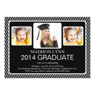 Modern Class of 2014 3 Photo Graduation Party Card