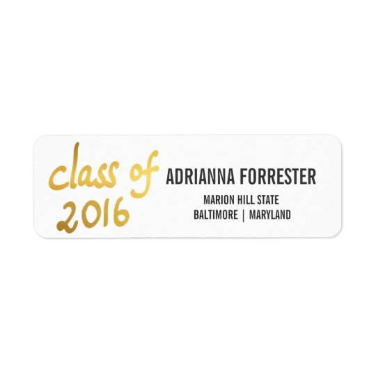 Modern Class Of 2016 Gold Foil Typography Graduate