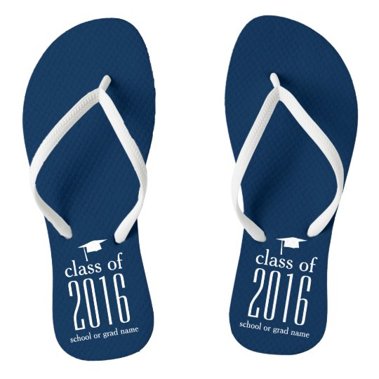 Modern Class of 2016 Graduation Cap Custom Colour Flip Flops