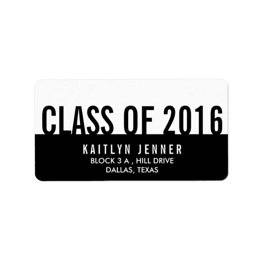 Modern Class Of 2016 Typography Black And White Label