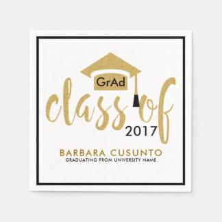 Modern Class Of 2017 White & Gold Glitter Text Disposable Napkin