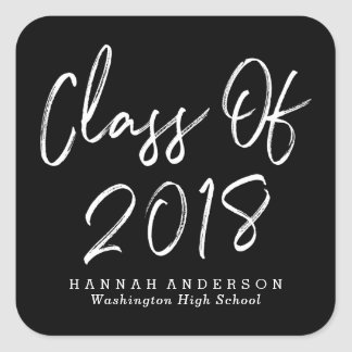Modern Class of 2018   Black Graduation Square Sticker