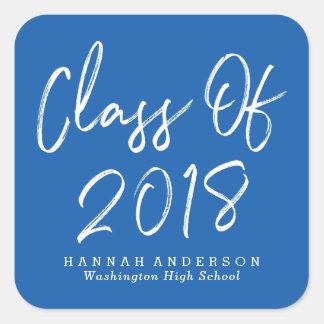 Modern Class of 2018   Blue Graduation Square Sticker