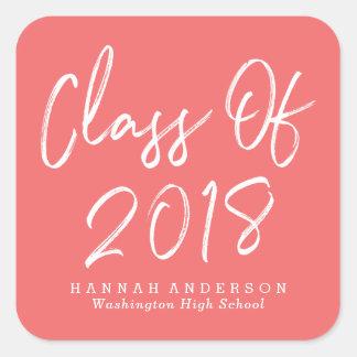 Modern Class of 2018   Coral Graduation Square Sticker