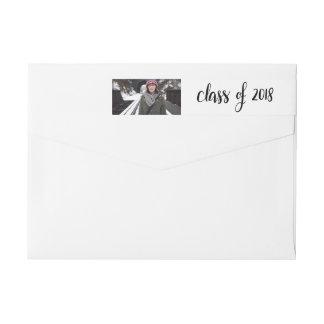 Modern Class Of 2018 Handwritten Graduate Photo Wrap Around Label