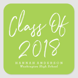 Modern Class of 2018 | Lime Green Graduation Square Sticker