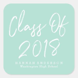 Modern Class of 2018   Mint Graduation Square Sticker