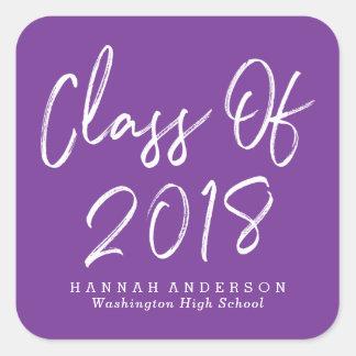 Modern Class of 2018   Purple Graduation Square Sticker