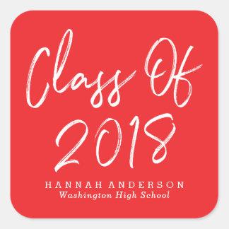 Modern Class of 2018   Red Graduation Square Sticker