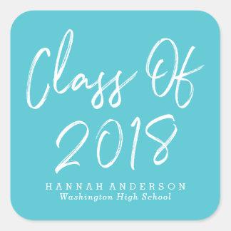 Modern Class of 2018   Turquoise Graduation Square Sticker