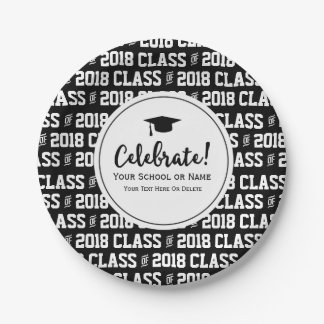 Modern Class of 20XX Graduation Grad's Name Custom 7 Inch Paper Plate