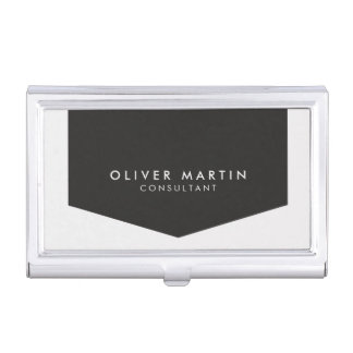 Modern Classic Black and Light Grey Business Card Holder