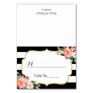 Modern Classic Black Stripes Floral Wedding Place Card