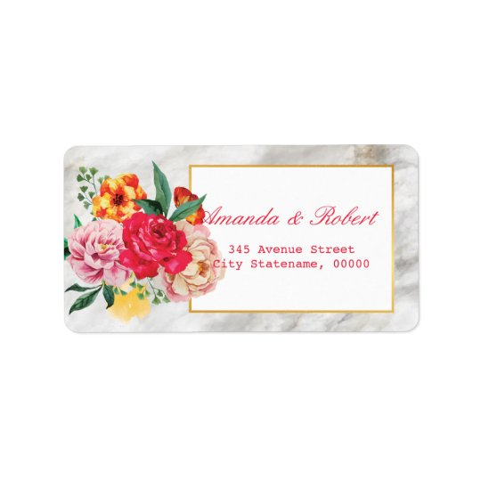 Modern Classic GOLD MARBLE  Floral Peony address