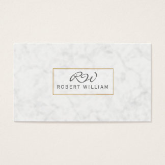 Modern Classic Monogram Golden Frame White Marble Business Card