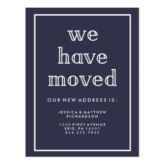 Modern Classic Navy Blue | We Have Moved Postcard