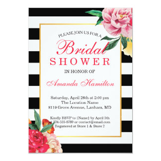 Modern Classic Striped Floral Peony  Bridal Shower Card