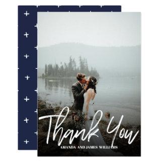 Modern classy Brushed  Photo WEDDING THANK YOU Card