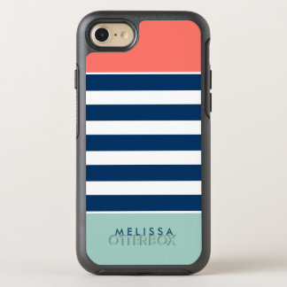 Modern Classy Coral Mint Navy White Stripes OtterBox Symmetry iPhone 8/7 Case