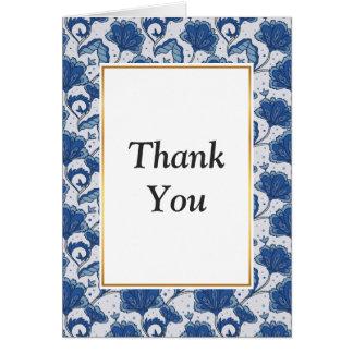 Modern classy elegant blue batik pattern card